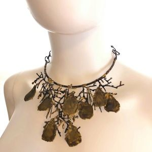 Brass Collar Necklace artist made Branch/Leaves